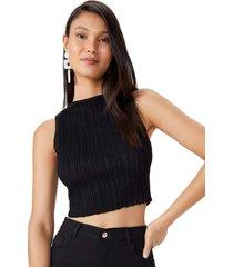 regata amaro tricot com lurex preto - preto - feminino - dafiti