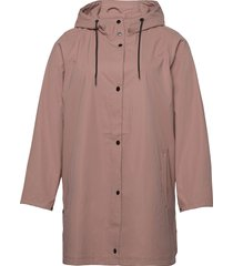 rain coat hood plus pockets buttons regenkleding roze zizzi