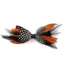 mens brown rust feather bow tie*
