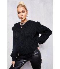 grof gebreide trui met schouder detail, zwart