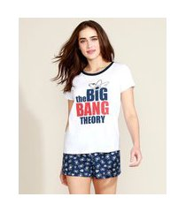 "pijama feminino the big bang theory"" manga curta branco"""