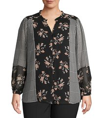 plus mixed print long-sleeve top