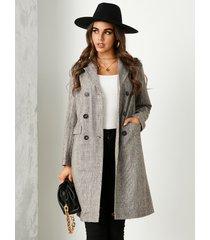 yoins abrigo de cuello de solapa a cuadros marrón con doble botonadura diseño