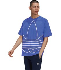 camiseta adidas originals big trefoil out azul - azul - masculino - dafiti