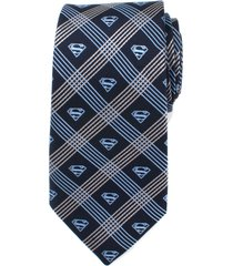 men's cufflinks, inc. superman shield silk tie, size regular - grey