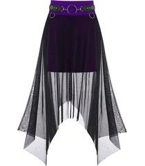 gothic mesh overlay o ring handkerchief skirt