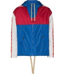 gucci gg stripe reflective jacket - blue