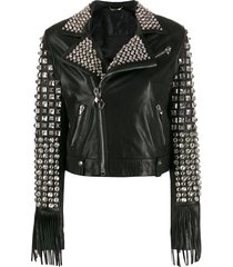 philipp plein cowboy leather jacket - black