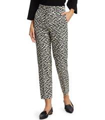 akris punto women's ikat printed ferry pants - black cream - size 8