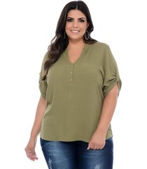 blusa bata plus size camisaria prelãºdio viscose verde militar - verde - feminino - dafiti