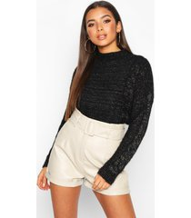 fluffy cable knit sweater, black
