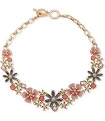 """anne klein gold-tone crystal & stone flower 17"""" statement necklace"""