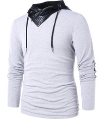 pu leather panel pullover hoodie