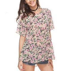 maglietta a maniche corte a maniche corte in stampa floreale