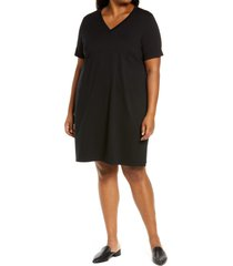 plus size women's eileen fisher traceable stretch organic cotton t-shirt dress, size 1x - black