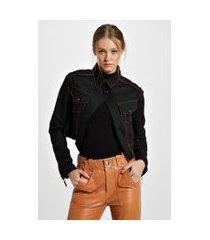 jaqueta jeans black jeans preta gola dupla cinto costas black denim