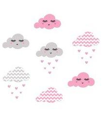 adesivo de parede nuvens chevron rosa chuva de amor quartinhos