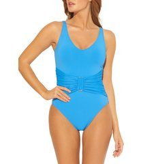 women's bleu by rod beattie all about u bar detail one-piece swimsuit, size 6 - blue