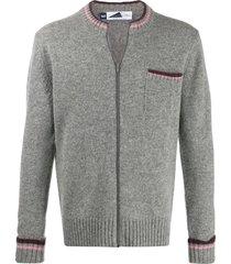 anglozine zipped fitted cardigan - grey