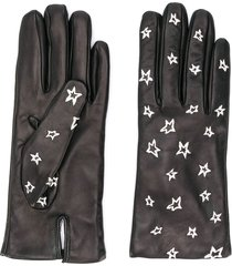 paul smith star-embroidered gloves - black