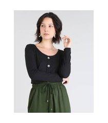 blusa feminina canelada com botões manga longa preta