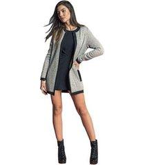 casaco alongado brix forrado com pelo feminino