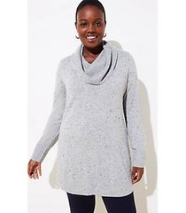 loft plus flecked luxe knit cowl neck tunic sweater