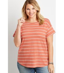 maurices plus size womens 24/7 stripe drop shoulder tee red