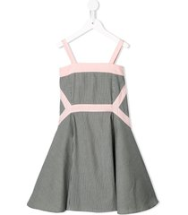 owa yurika striped chambray fit-and-flare dress - grey