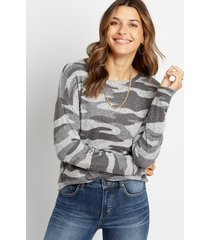 maurices womens gray camo straight hem pullover