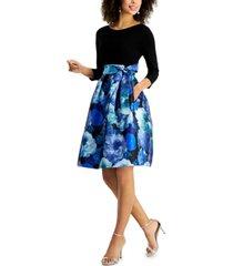 jessica howard petite floral-print-skirt fit & flare dress