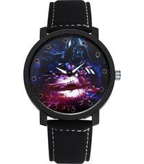 moda orologi da polso al quarzo cool no number rotonda quadrante cinturino in pelle per gli uomini