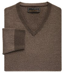 reserve collection wool blend v-neck herringbone men's sweater - big & tall clearance