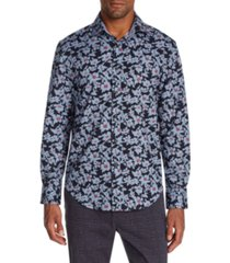 tallia men's slim-fit performance stretch floral long sleeve shirt