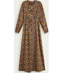 scotch & soda floral print maxi wrap dress