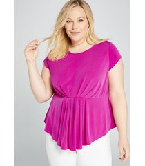 lane bryant women's knit kit pleated-waist top 26/28 spicy orchid