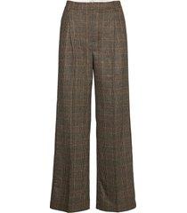 bottomsup check trouser 20-04 broek met wijde pijpen bruin holzweiler