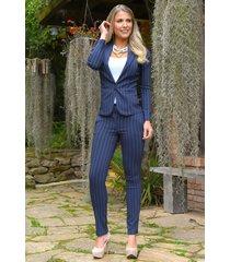 pantalón con rayas outfit 1093 para mujer azul