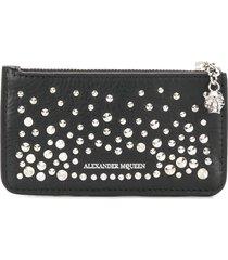 alexander mcqueen zippered card holder wallet - black