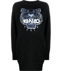 kenzo tiger-print jumper dress - black