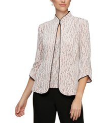 alex evenings printed piped 3/4-sleeve two-piece glitter top & jacket