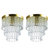 kit 2 lustre de cristal acrilico manucrillic dourado.