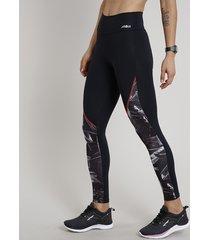 calça legging feminina esportiva ace com estampa de folhagem preta