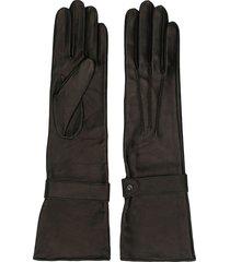 manokhi long leather gloves - black