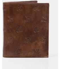billetera vela vertical de cuero para hombre grabado