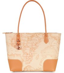alviero martini 1a classe designer handbags, geo pesca coated canvas & leather shopping bag