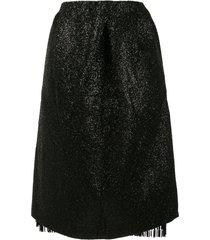 rochas lurex tassel skirt - black