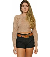 suéter nalu rio peludinho cropped feminino