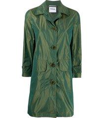 aspesi reflective taffeta coat - green