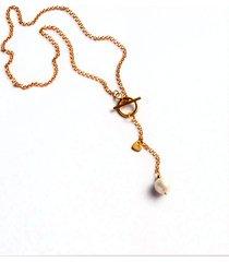 naszyjnik z perłą & serduszkiem - gold